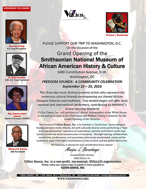 Please support ViZion's trip to Washington, D.C. on the occasion of the Grand Opening of the Smithsonian National Museum of African American History & Culture